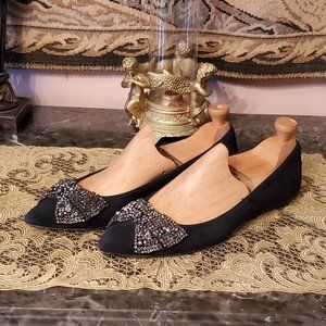 TORY BURCH  Vanessa Black Suede Crystal Bow